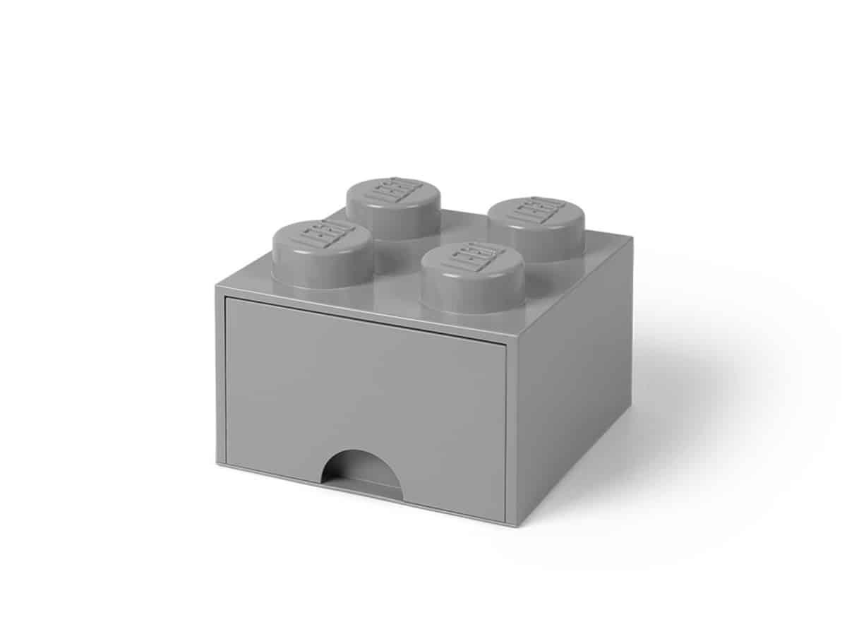 gra middels stor 4 knotters lego 5005713 oppbevaringskloss med skuff