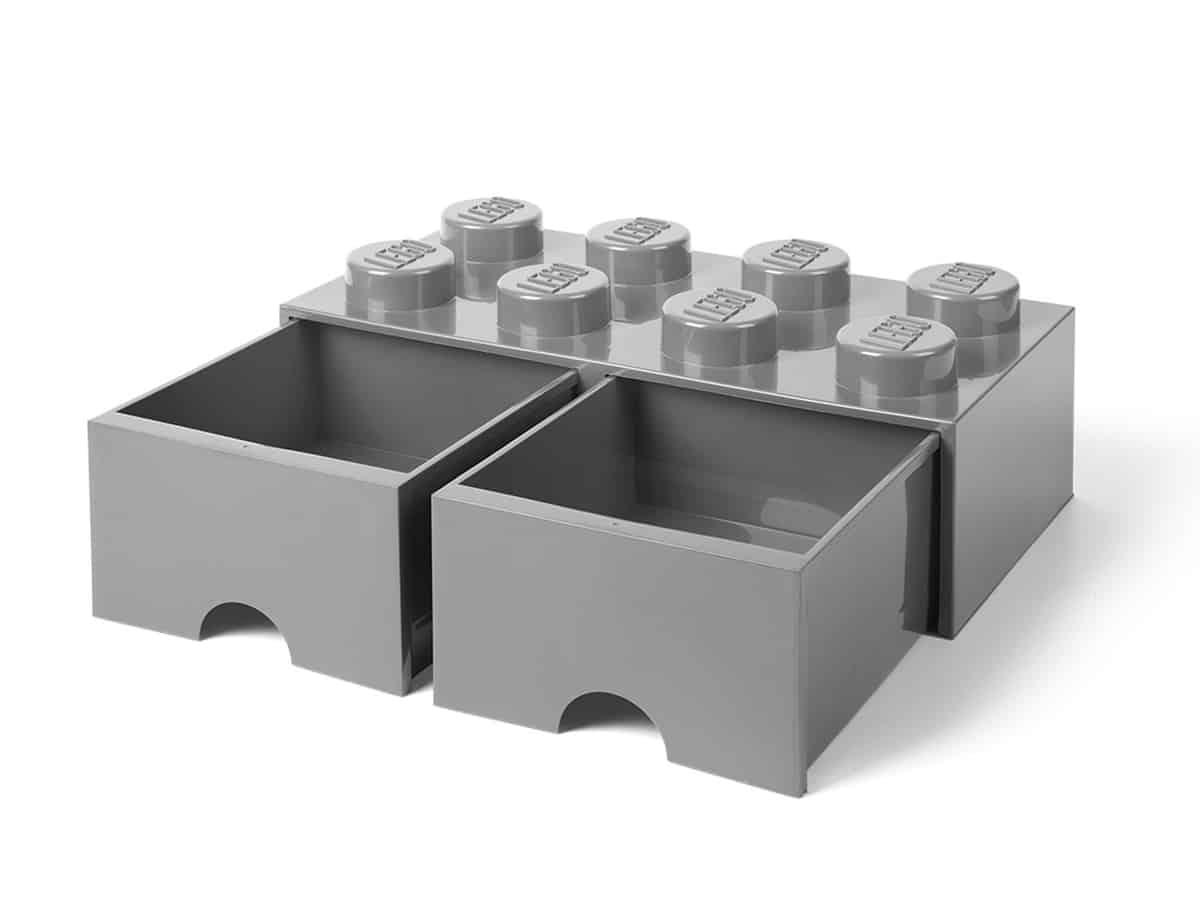 gra middels stor 8 knotters lego 5005720 oppbevaringskloss med skuff