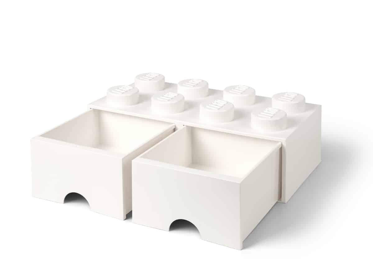 hvit 8 knotters lego 5006209 oppbevaringskloss med skuff