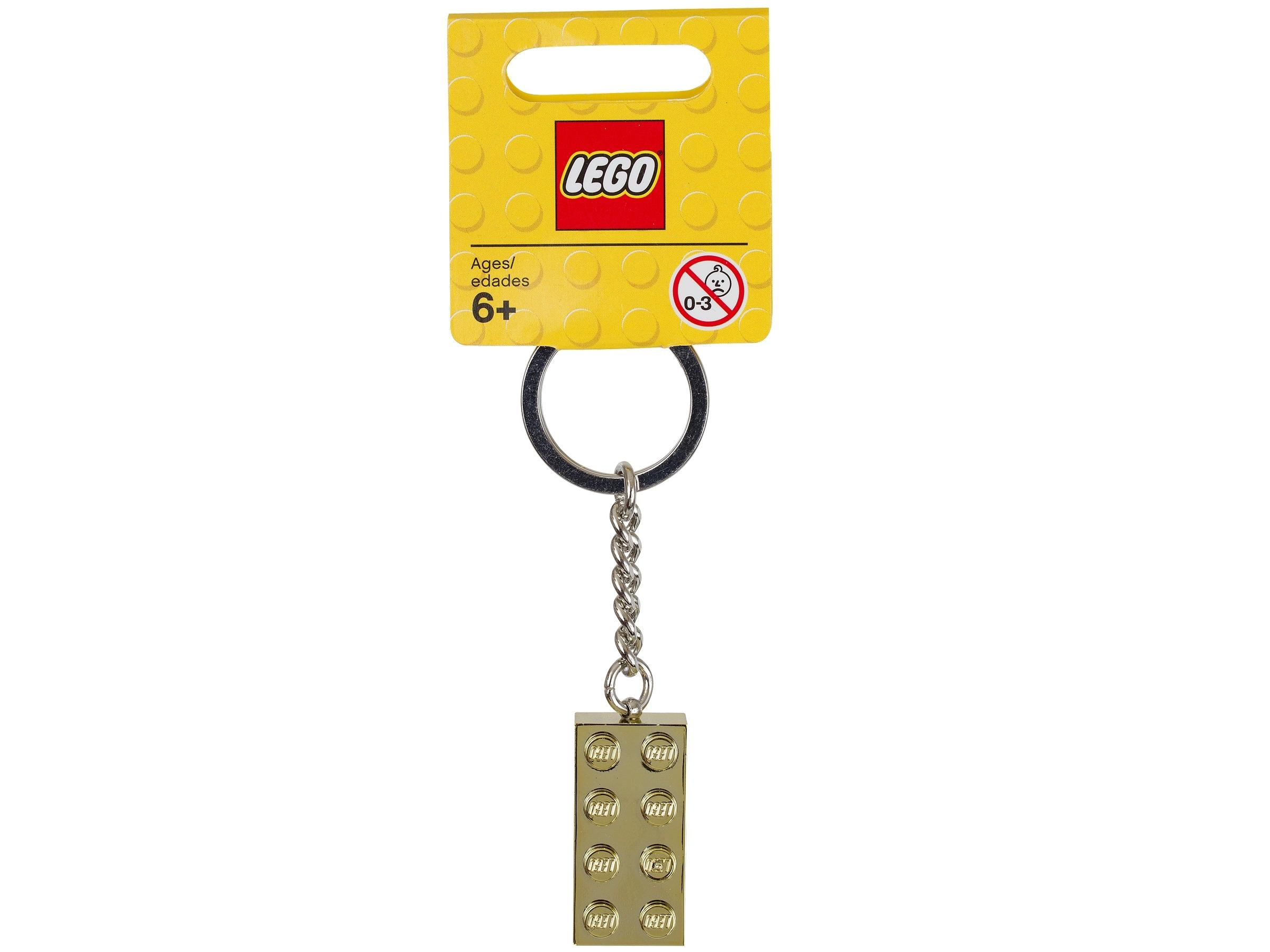 lego 850808 nokkelring med gullfarget 2 x 4 kloss