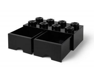 svart 8 knotters lego 5006248 oppbevaringskloss med skuffer