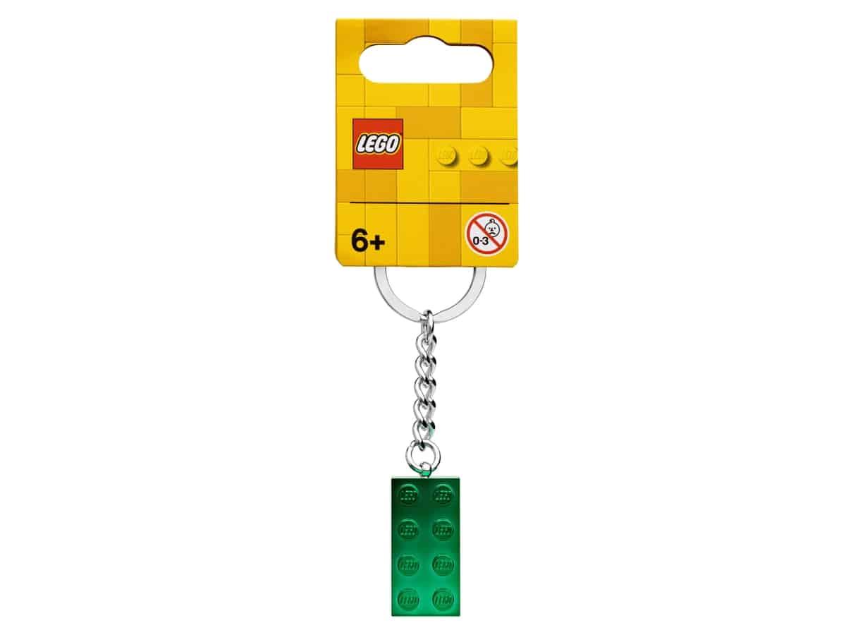 lego 854083 nokkelring med 2 x 4 kloss i gronn metallic