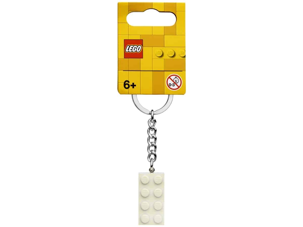 lego 854084 nokkelring med 2 x 4 kloss i hvit metallic